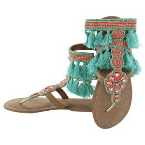 Guadalupe Design Silvia Sandal in Turquoise &Coral
